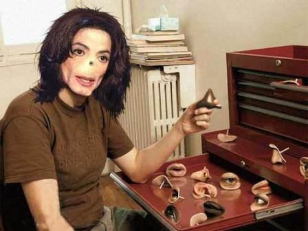 Montagem satirizado o fato de Michael Jackson supostamente não ter tido nariz enquanto vivo