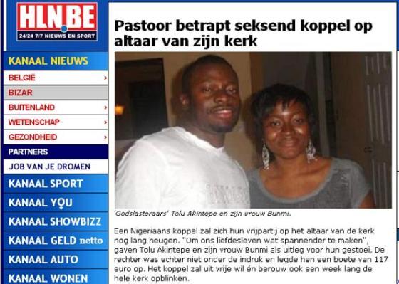 Tolu e Bunmi foram multados após serem flagrados fazendo sexo em igreja. (Foto: Reprodução/HLN)