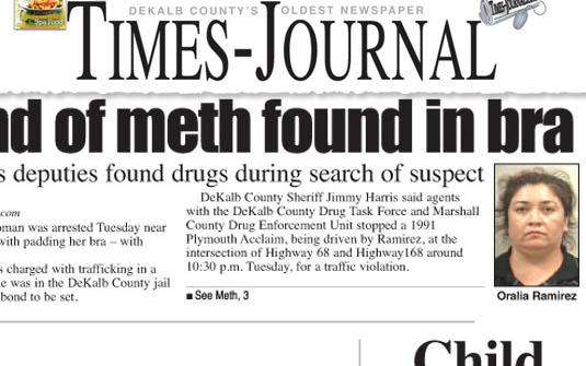 Oralia Ramirez foi presa com cerca de um quilo de metanfetaminas escondido no sutiã. (Foto: Reprodução/Times-Journal)